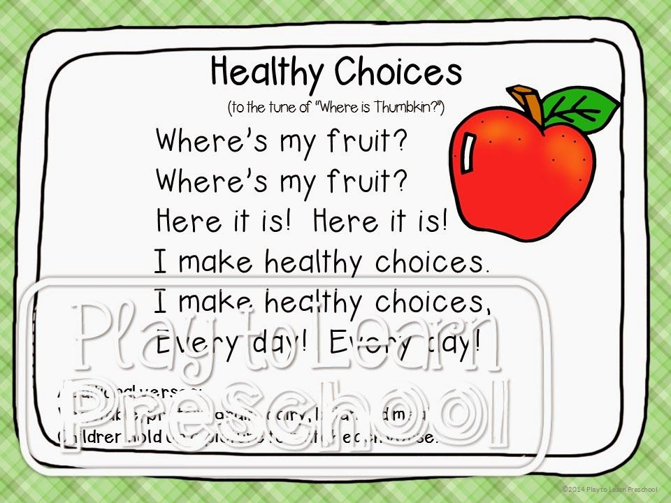 """""""Healthy Choices"""" Food Group song for circle time Play"""