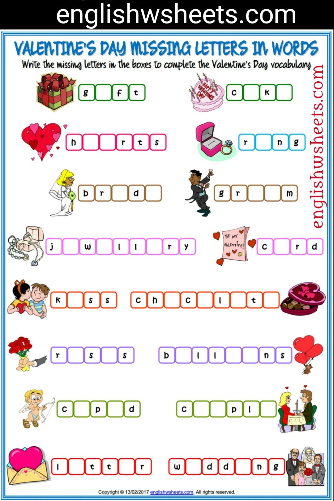 Valentine S Day Esl Printable Missing Letters In Words Worksheet For Kids Valentines Day Esl