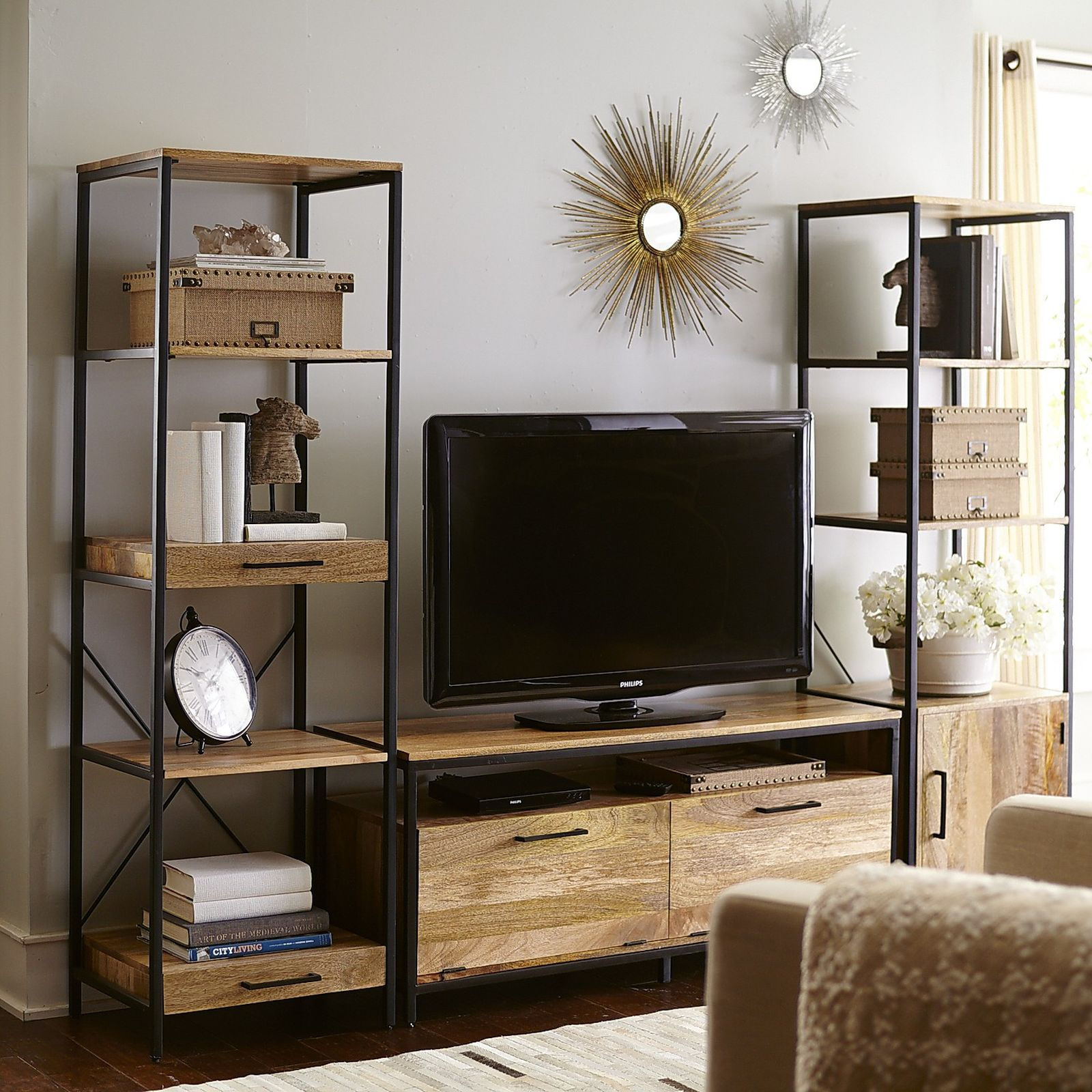 """Takat Natural Mango Wood 49"""" TV Stand Word meaning, Door"""