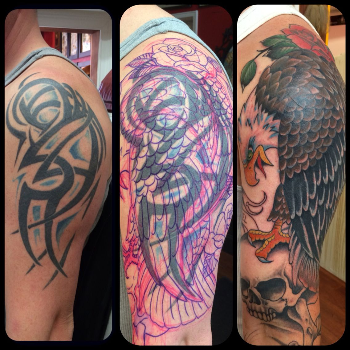 Cover up magic before and after Tattoos by GregFly