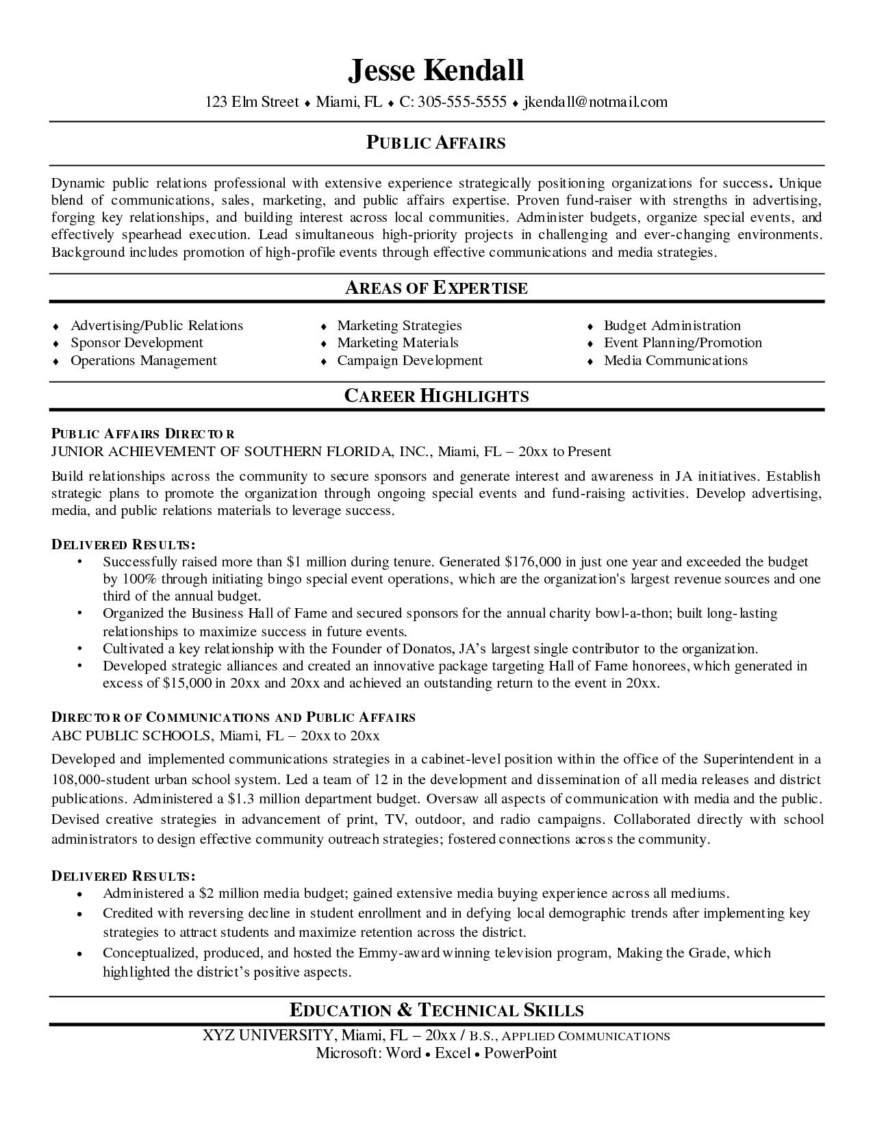 Public Affairs Director Resume Sample