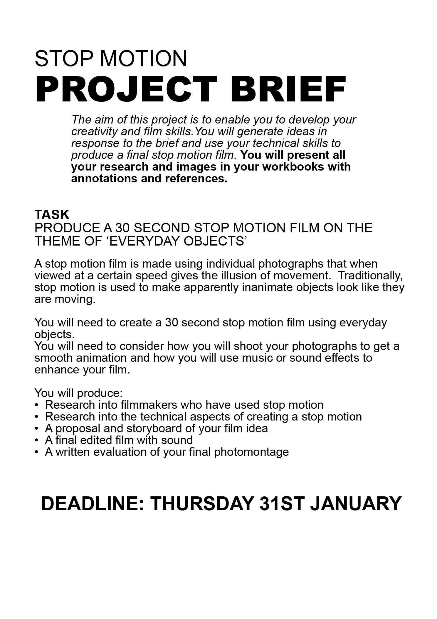 Stop Motion Project Brief
