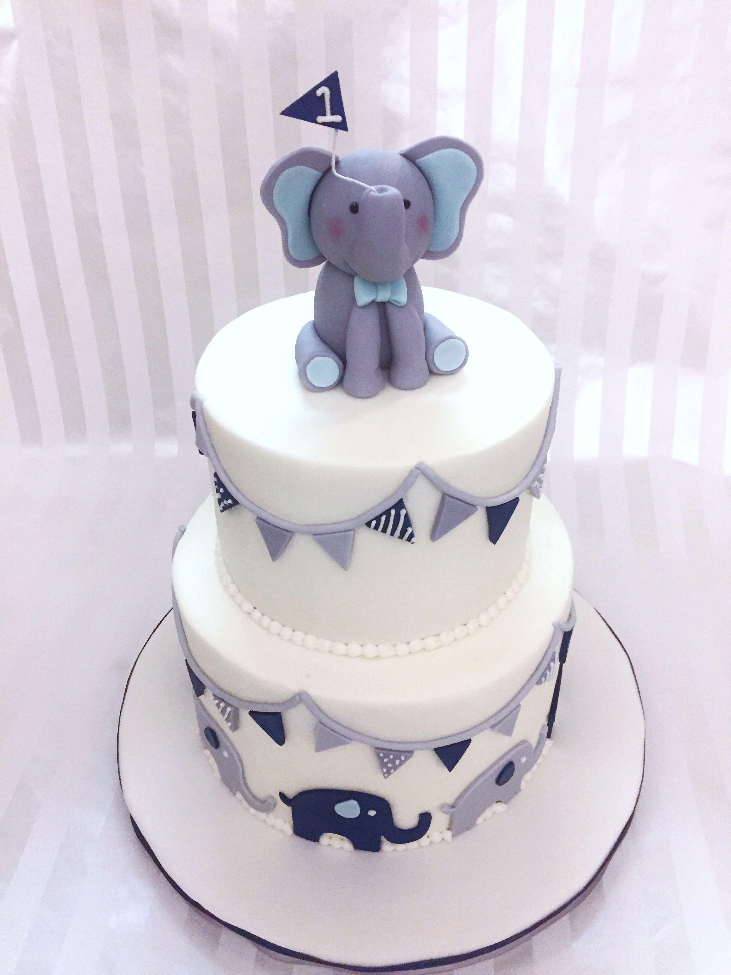 Baby Boy Elephant 1st Birthday Cake Sweet Lia's Cakes