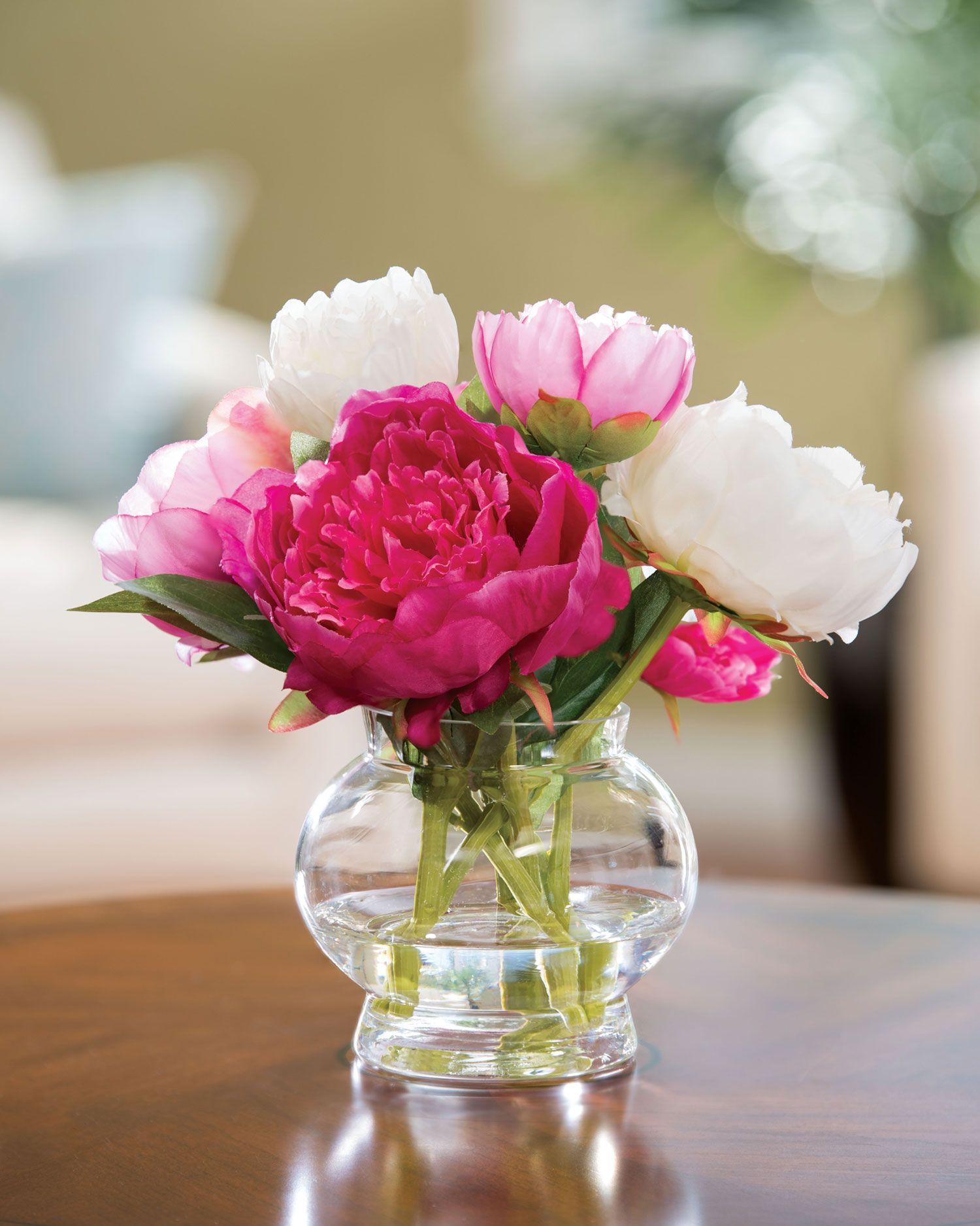 Peony Silk Flower Centerpiece Clear acrylic, Peony