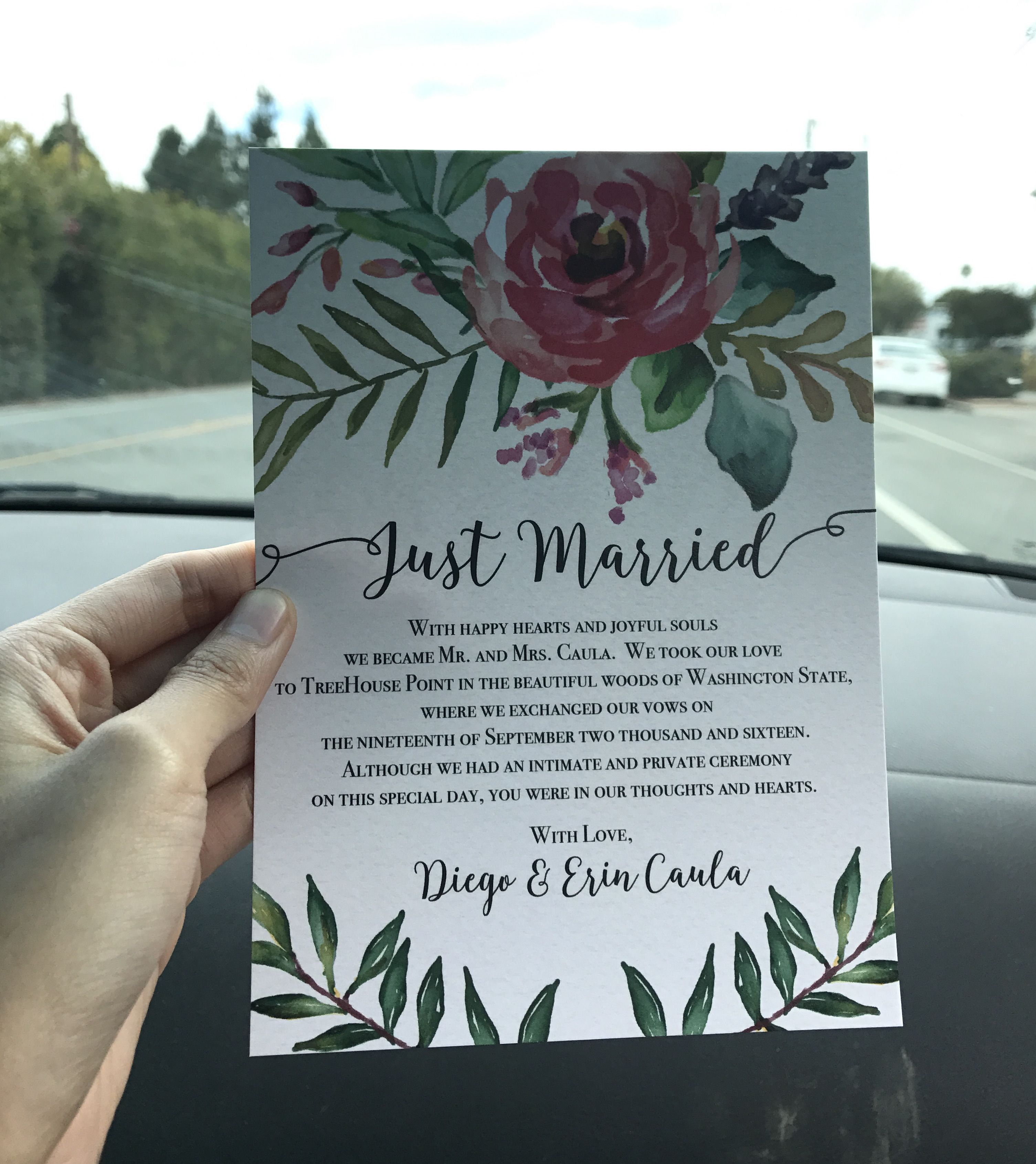 Colorful and creative elopement announcement card idea
