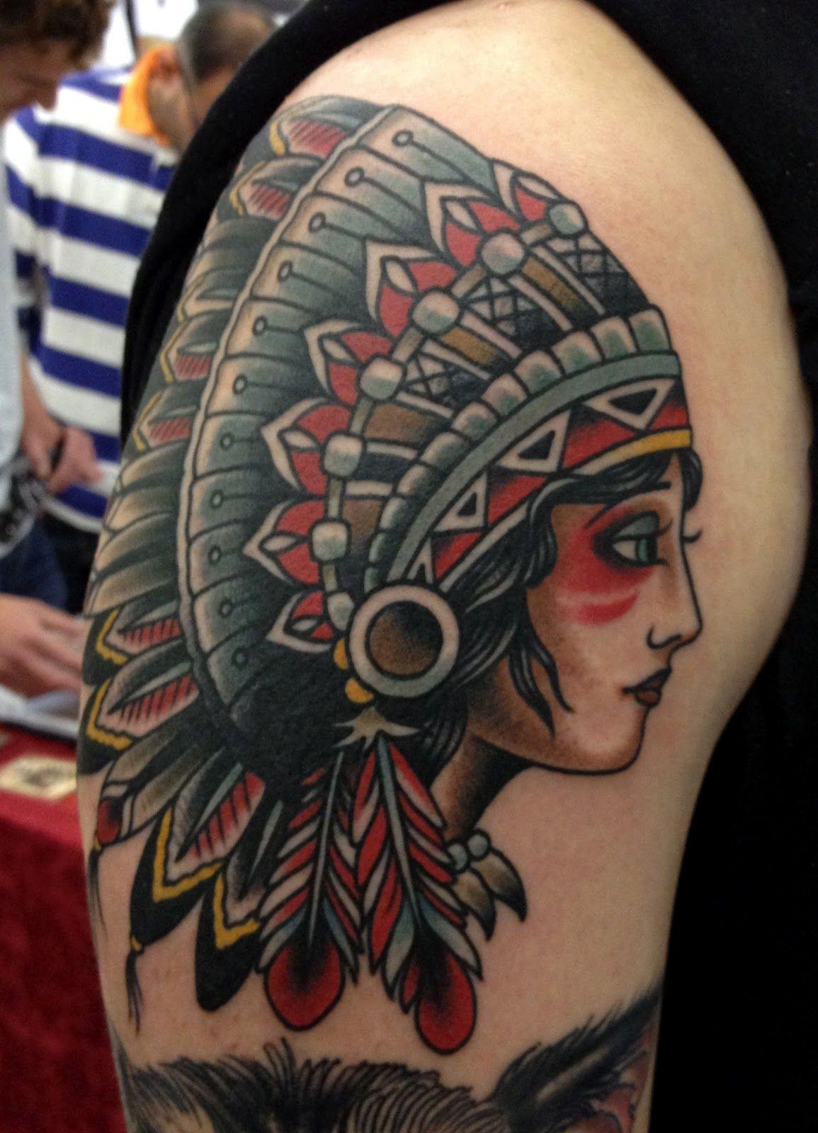 beautiful native american girl headdress tattoo Google