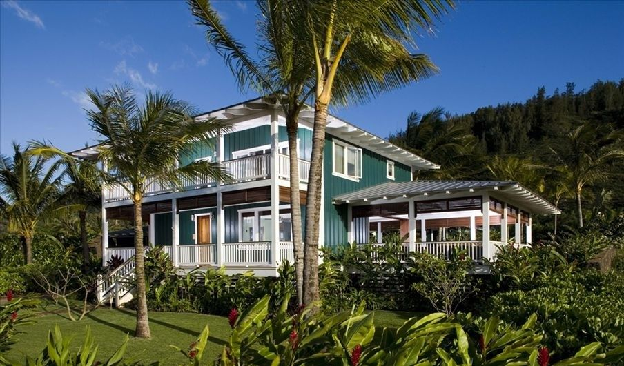 The verandas, trim details, and colors make this Hawaiian