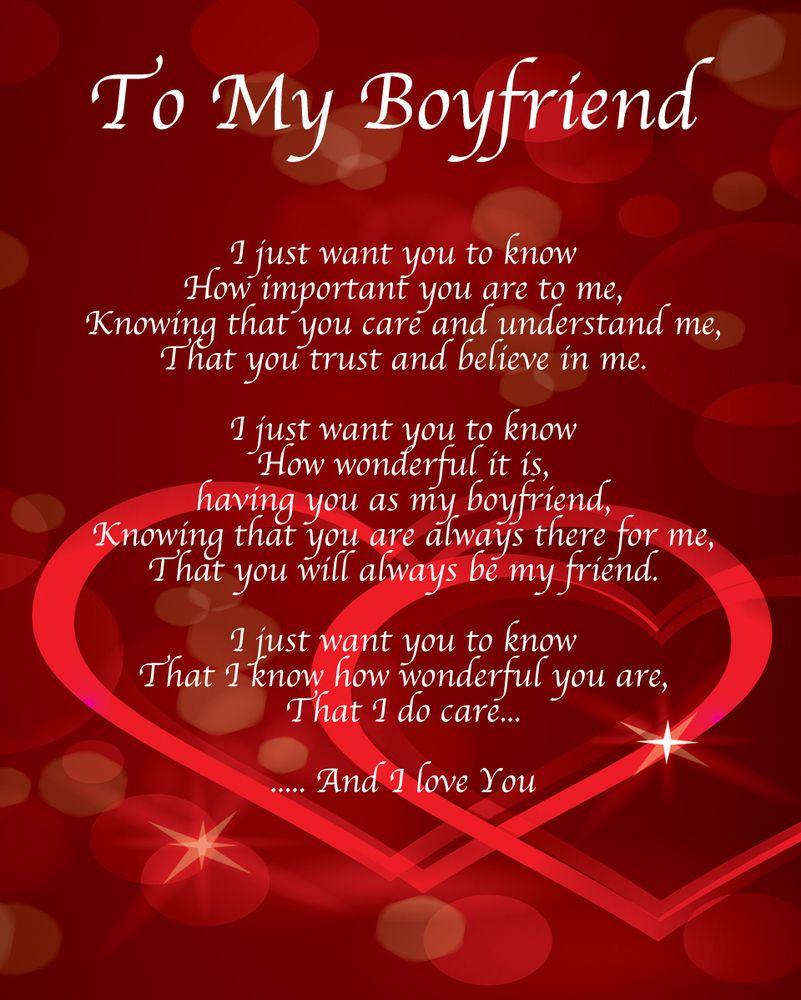To My Boyfriend Poem Birthday Christmas Valentines Day
