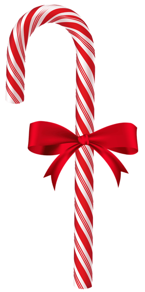 Candy Cane with Red Bow PNG Clip Art Image Christmas