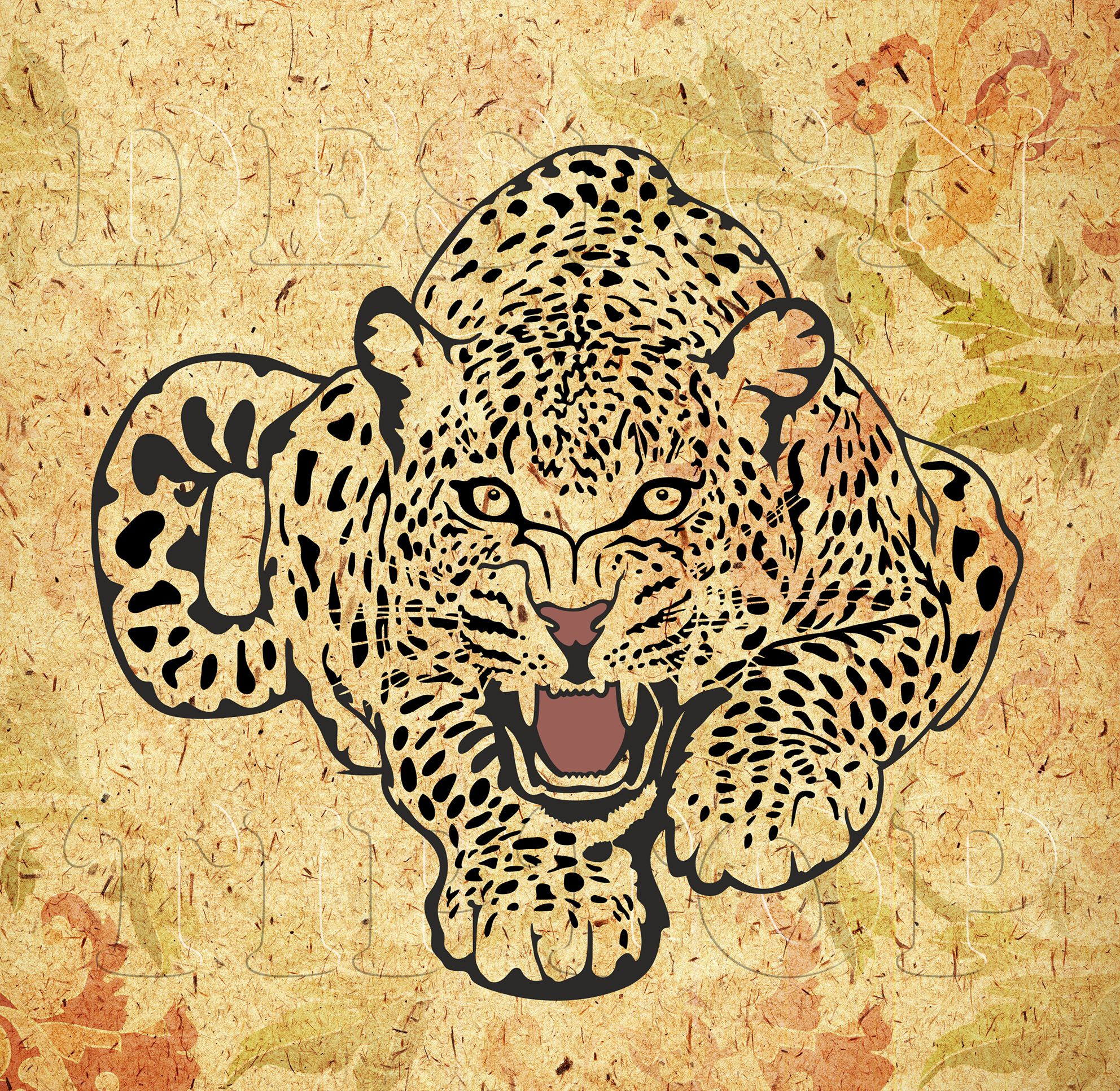 Multilayered image of a leopard, SVG, DXF, PNG, AI ,CDR