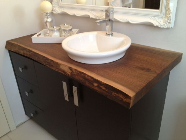 Live Edge Black Walnut Bathroom Countertop This would be perfect