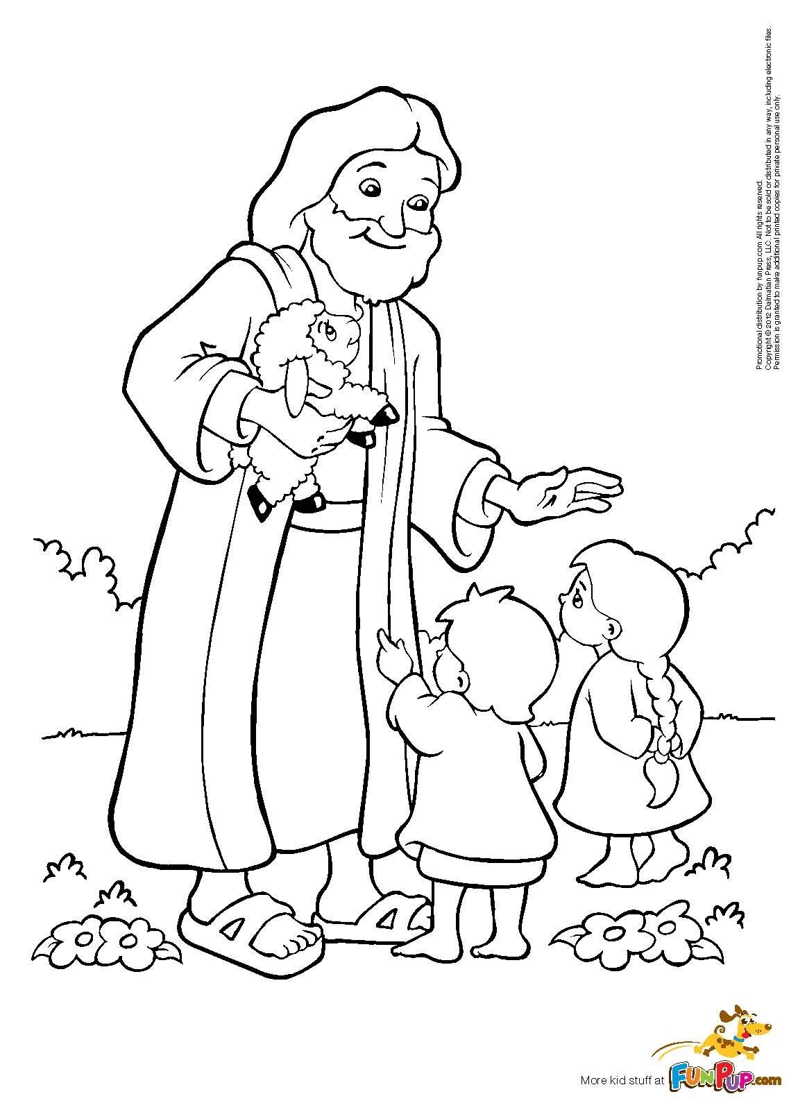 Jesus And Kids Coloring Page