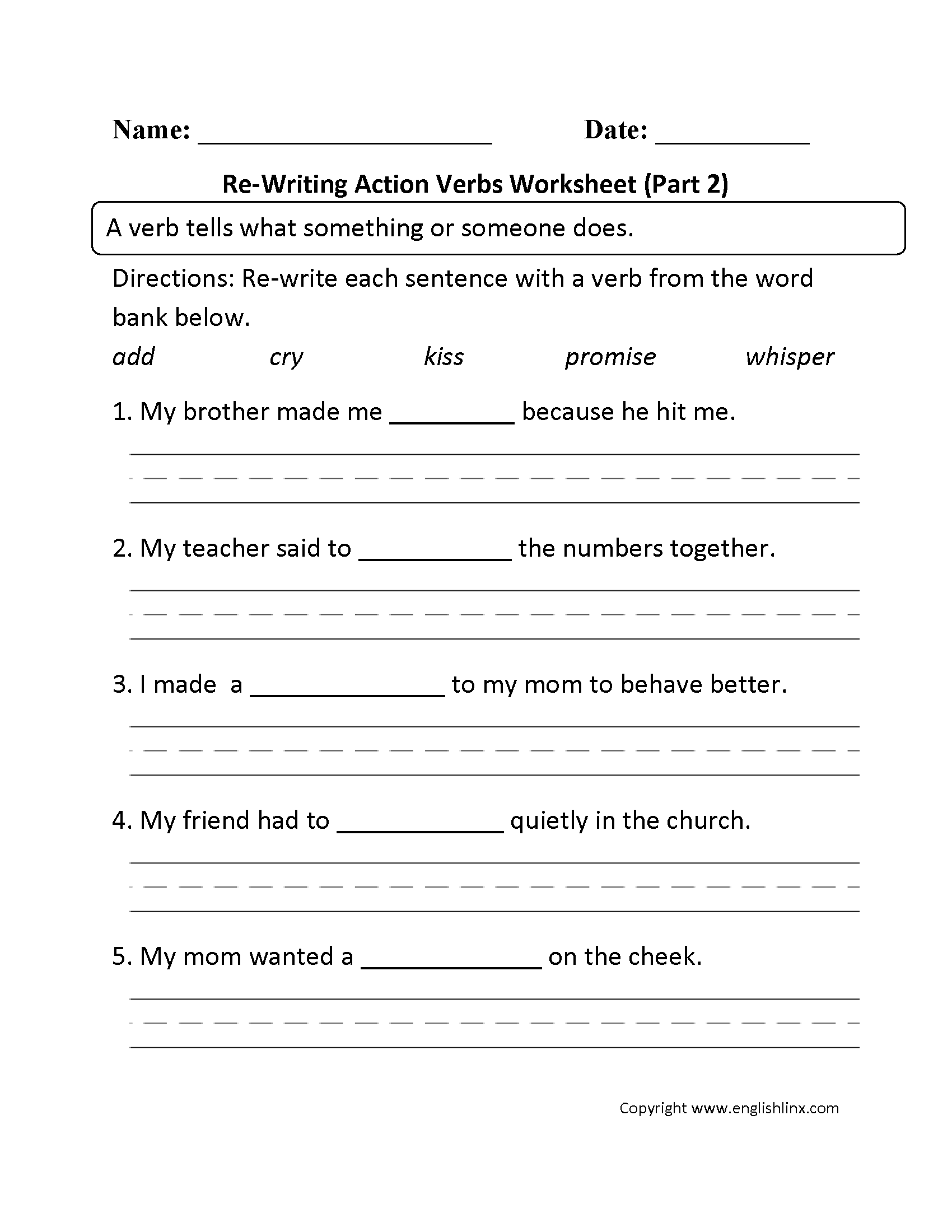 Re Writing Action Verbs Worksheet Part 2