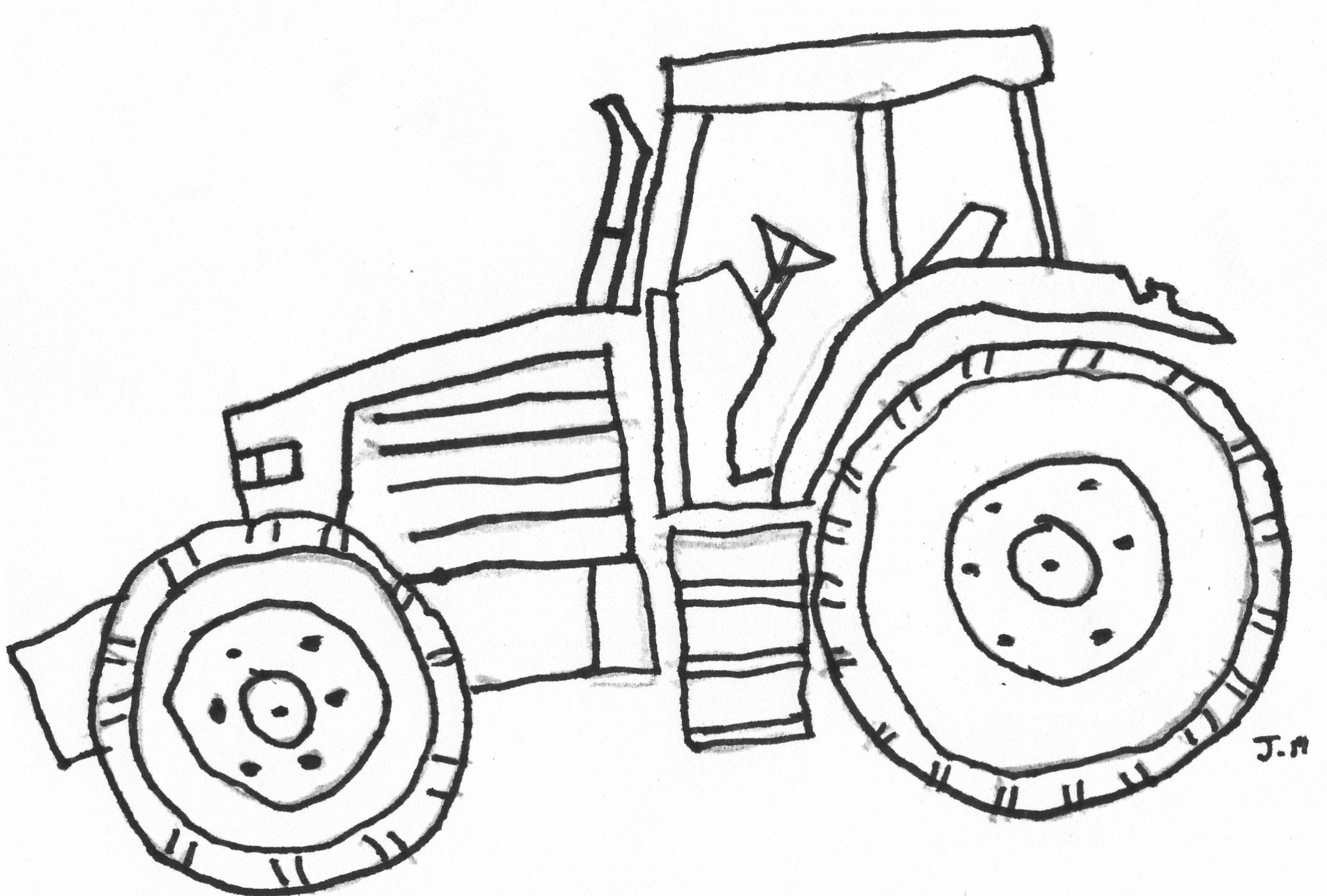 Easy John Deere Tractor Drawing