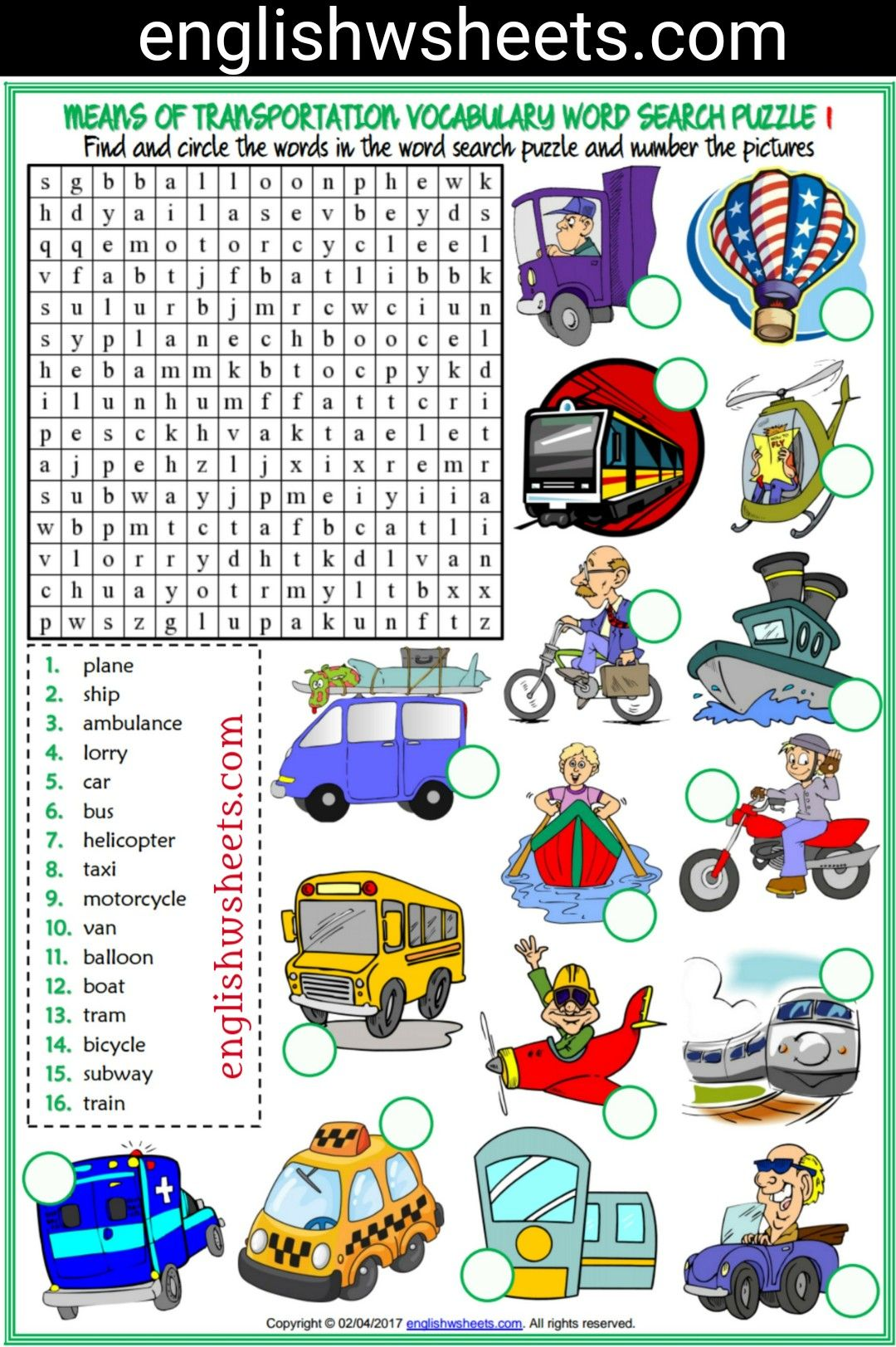Means Of Transportation Esl Printable Word Search Puzzle