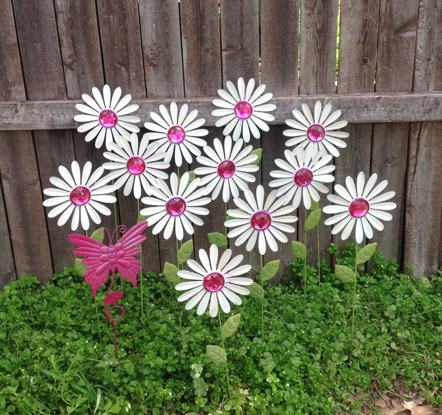 White Daisy Garden Stakes w/ Pink Butterfly / Baker's