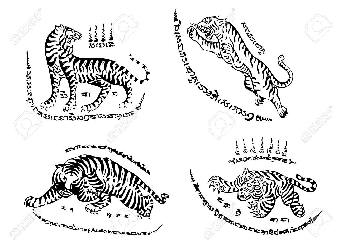 Tiger Traditional Thai Art Tattoo Ancient Royalty Free