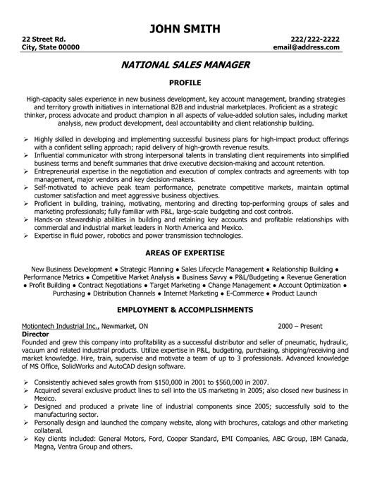Professional Sales Manager Resume Template. sales and marketing ...