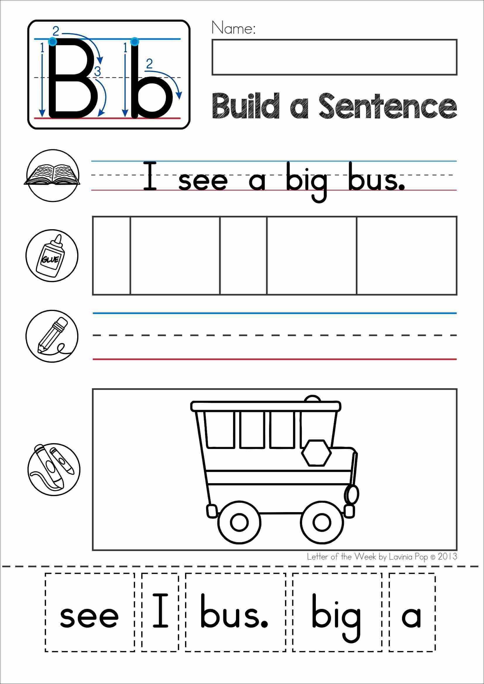 Phonics Letter Of The Week B Build A Sentence Cut And Paste Activity With Cvc Words For