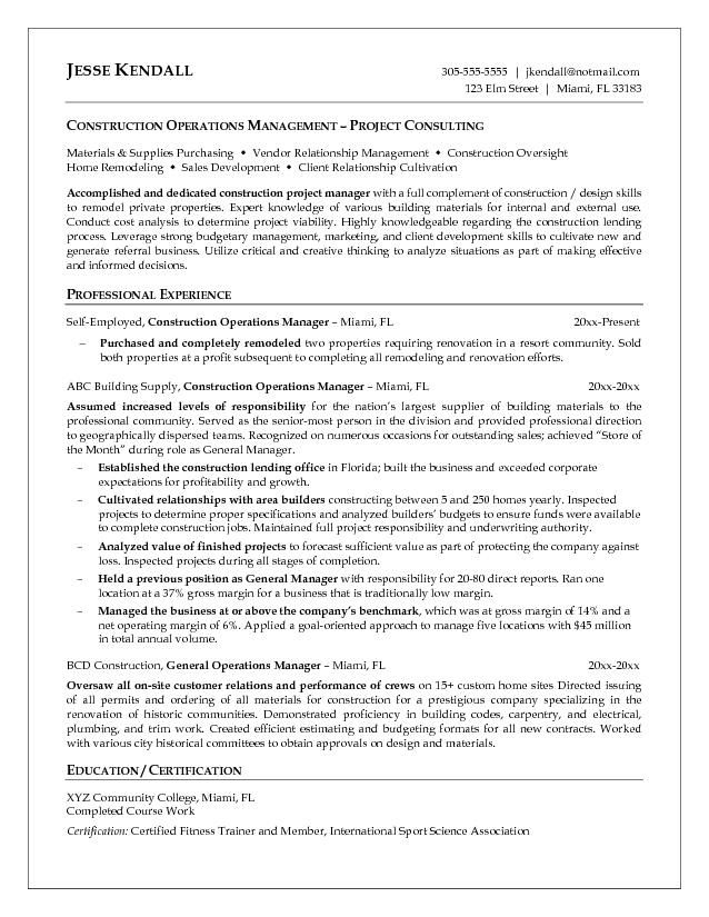 construction manager resumes template