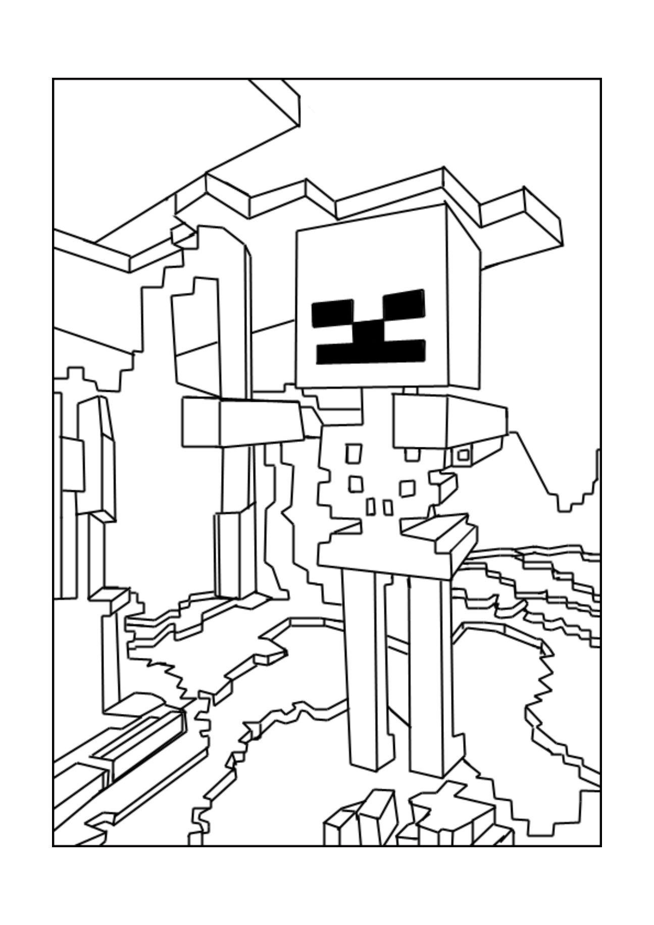 A Minecraft Skeleton Coloring Page