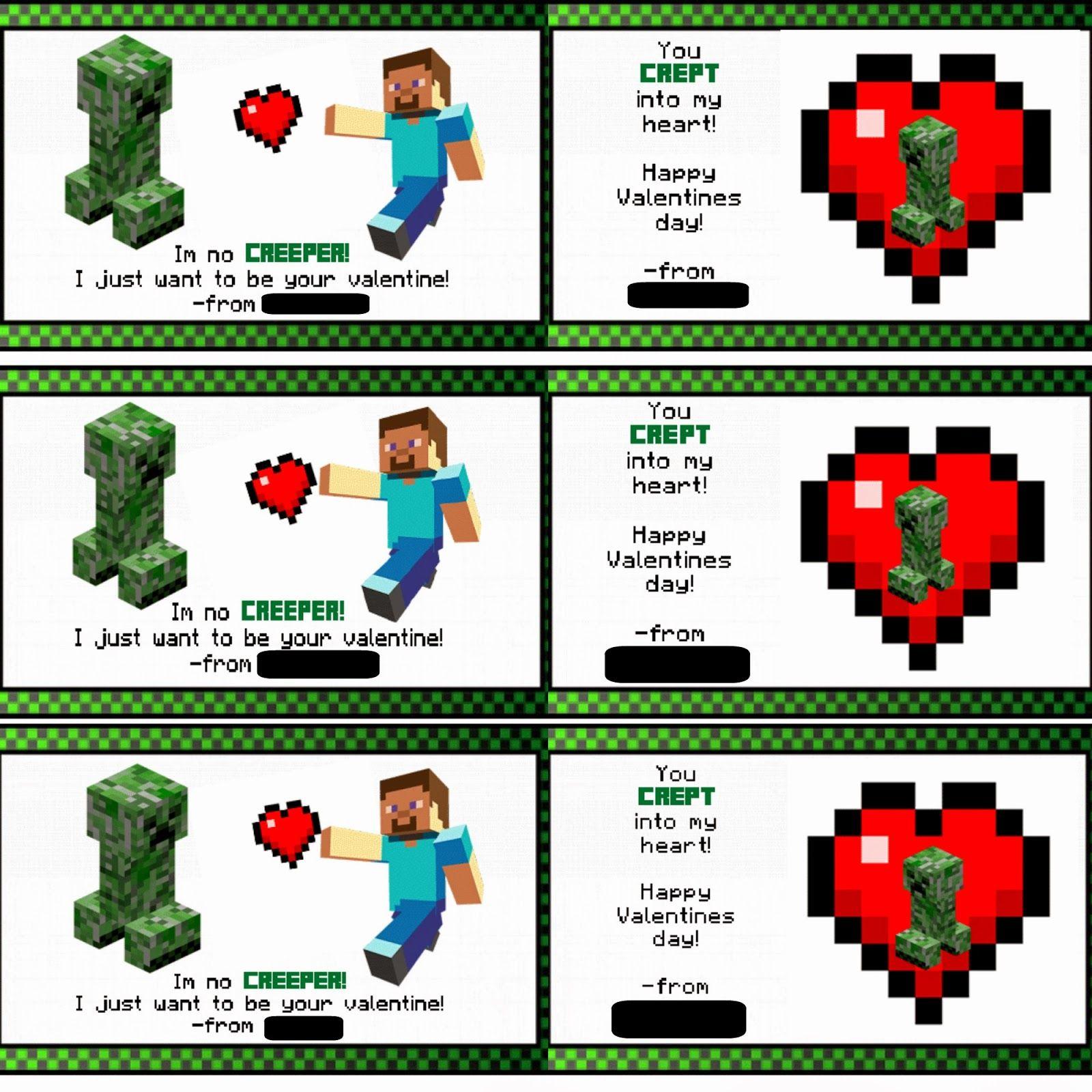 Free Printable Valentines Minecraft Class Valentines