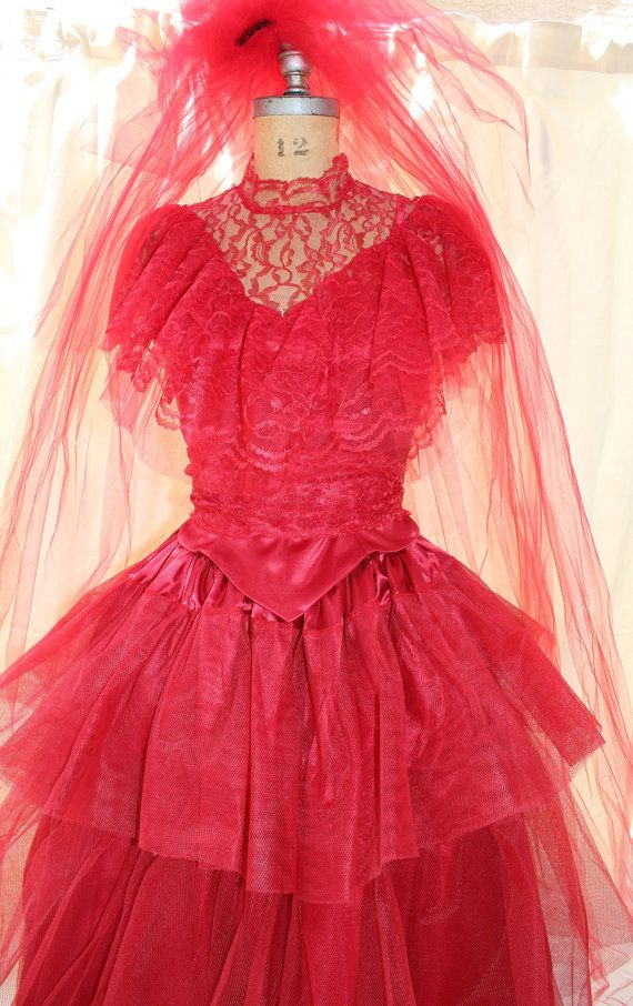 Lydia Deetz Red Wedding Dress Costume Movies