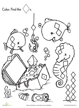 Shape Search Fishing for Treasure Kindergarten shapes