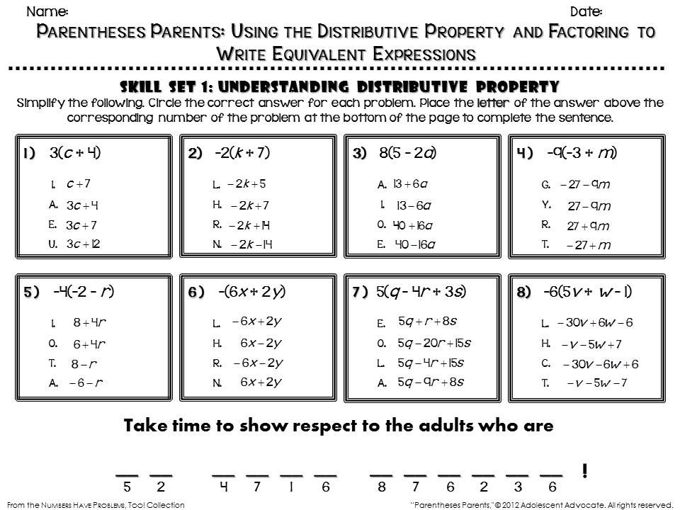 Fun math worksheet on distributive property. See Numbers