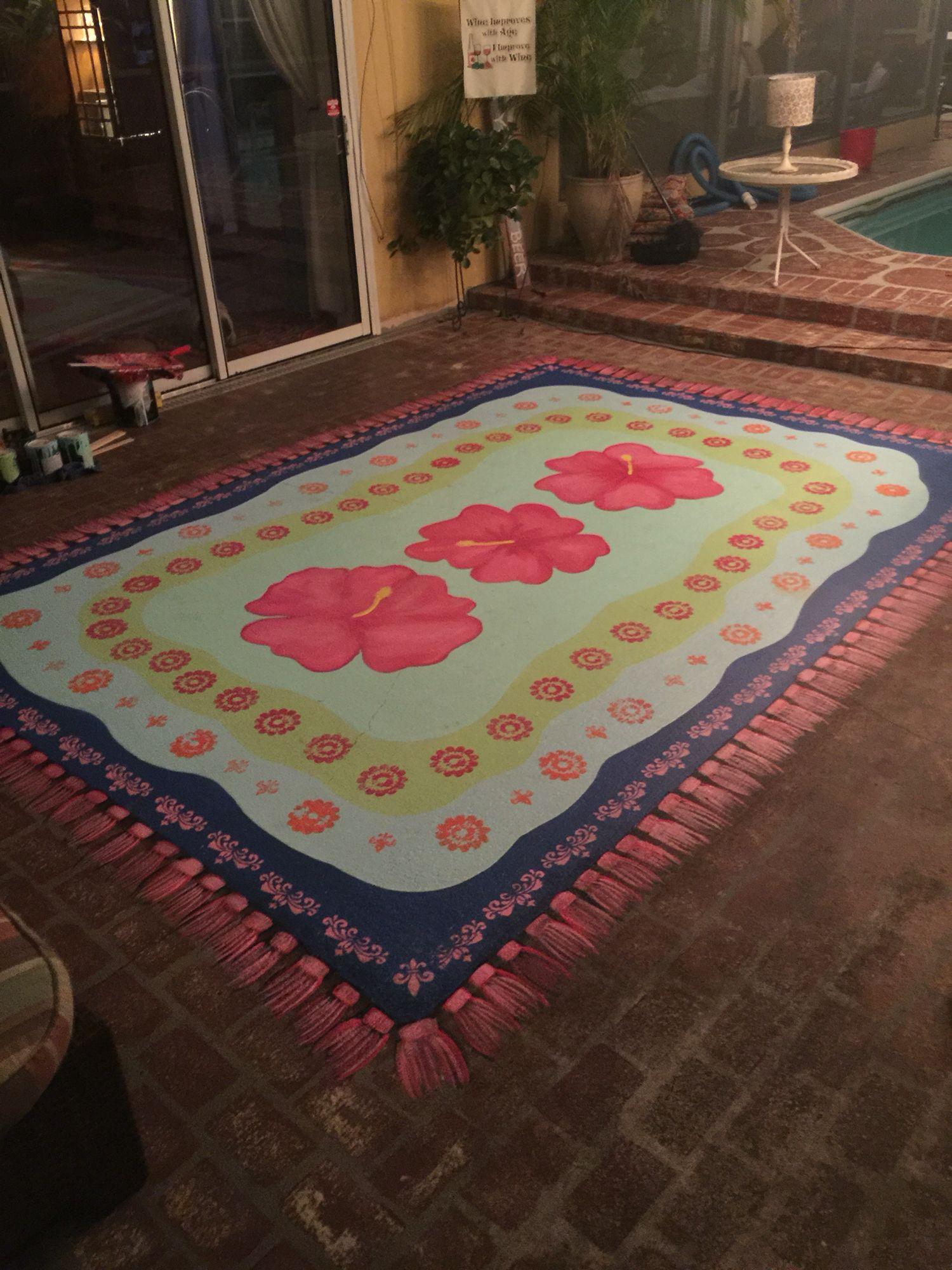 Painted rug on concrete patio Decor ideas Pinterest