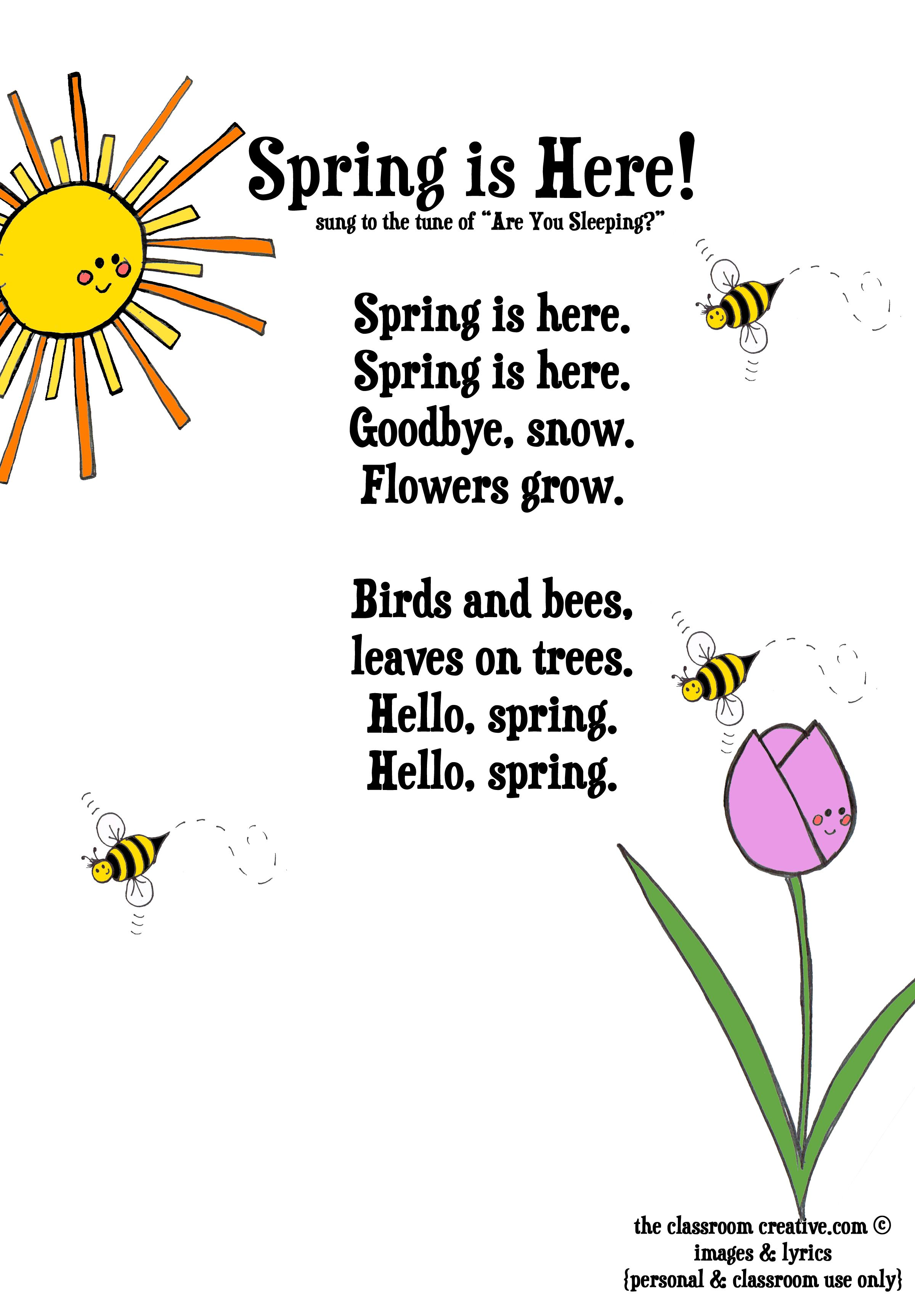 Spring Activities Free Spring Poem For Kids