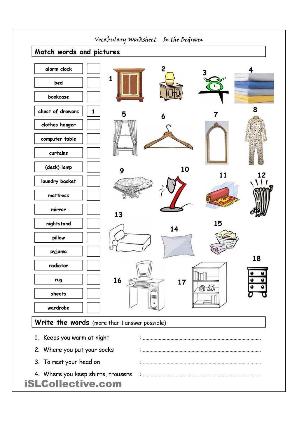 Vocabulary Worksheet Containing Bedroom It Has Two Sections Match Words And Pictures Matching Exercise Write The Creative