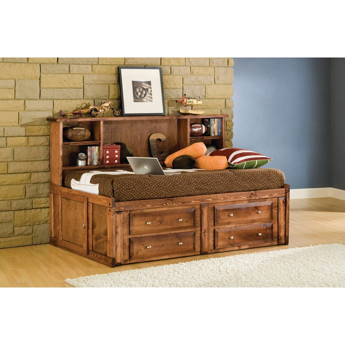 visions studio bedroom - bed & underdresser - twin - cocoa (4315