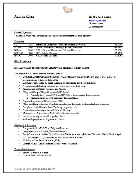 company secretary secretary and resume on pinterest company resume example