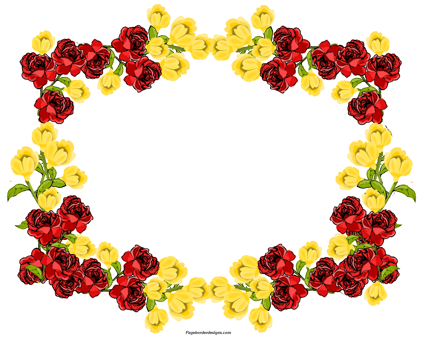 Beautiful Red and yellow Clip Art Flowers Frame Border