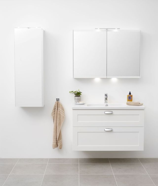 Miller bathroom 100 cm white London vanity with LED bathroom