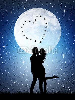 Download Couple silhouette in the moonlight | Cover Photos ...