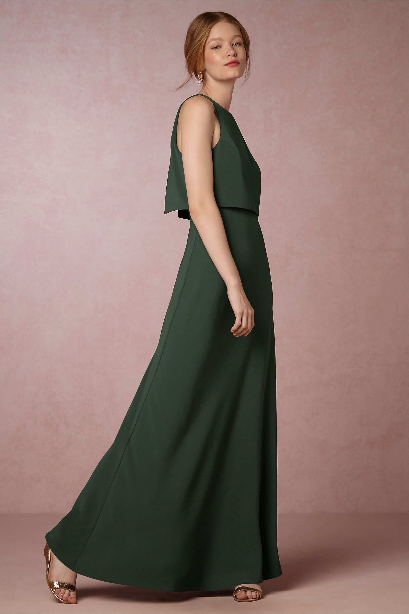 emerald green long bridesmaid dress Iva Crepe Maxi Dress
