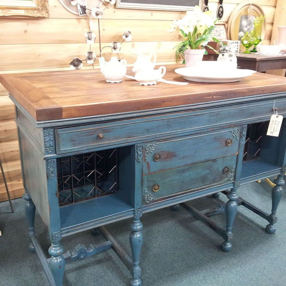 Vintage Buffet To Kitchen Island/Wine Bar Vintage buffet