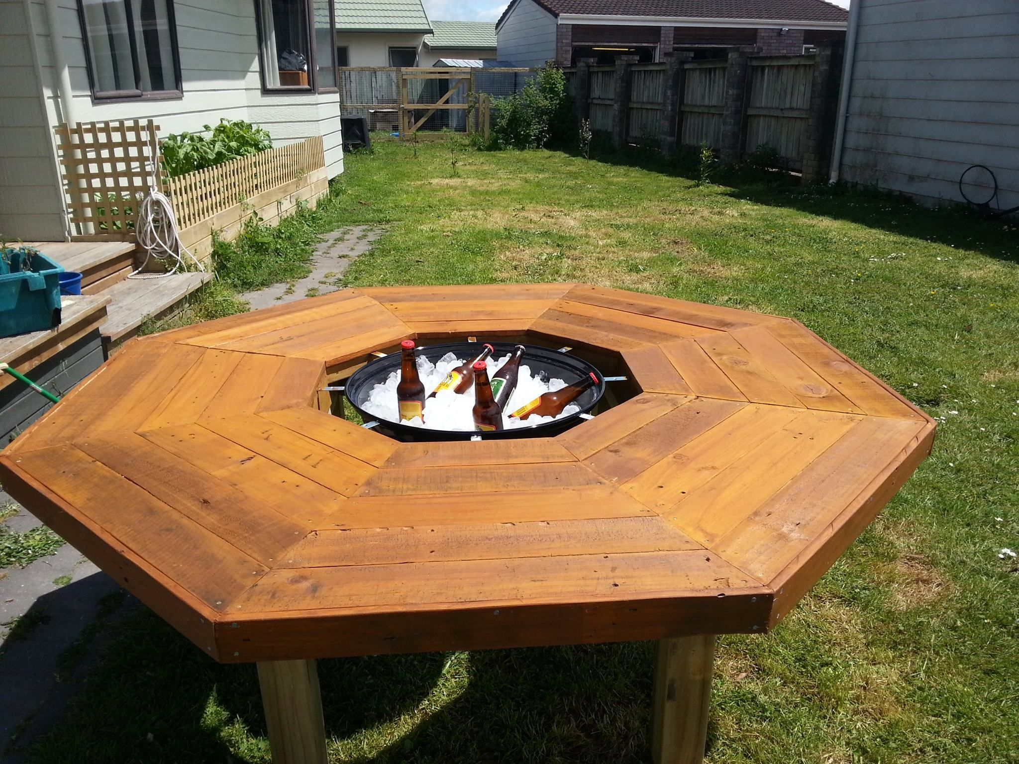 I have created an ice bucket/fire pit/bbq table Fire pit