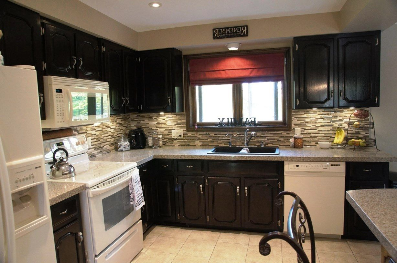 Dark Wood Kitchen With White Appliances House
