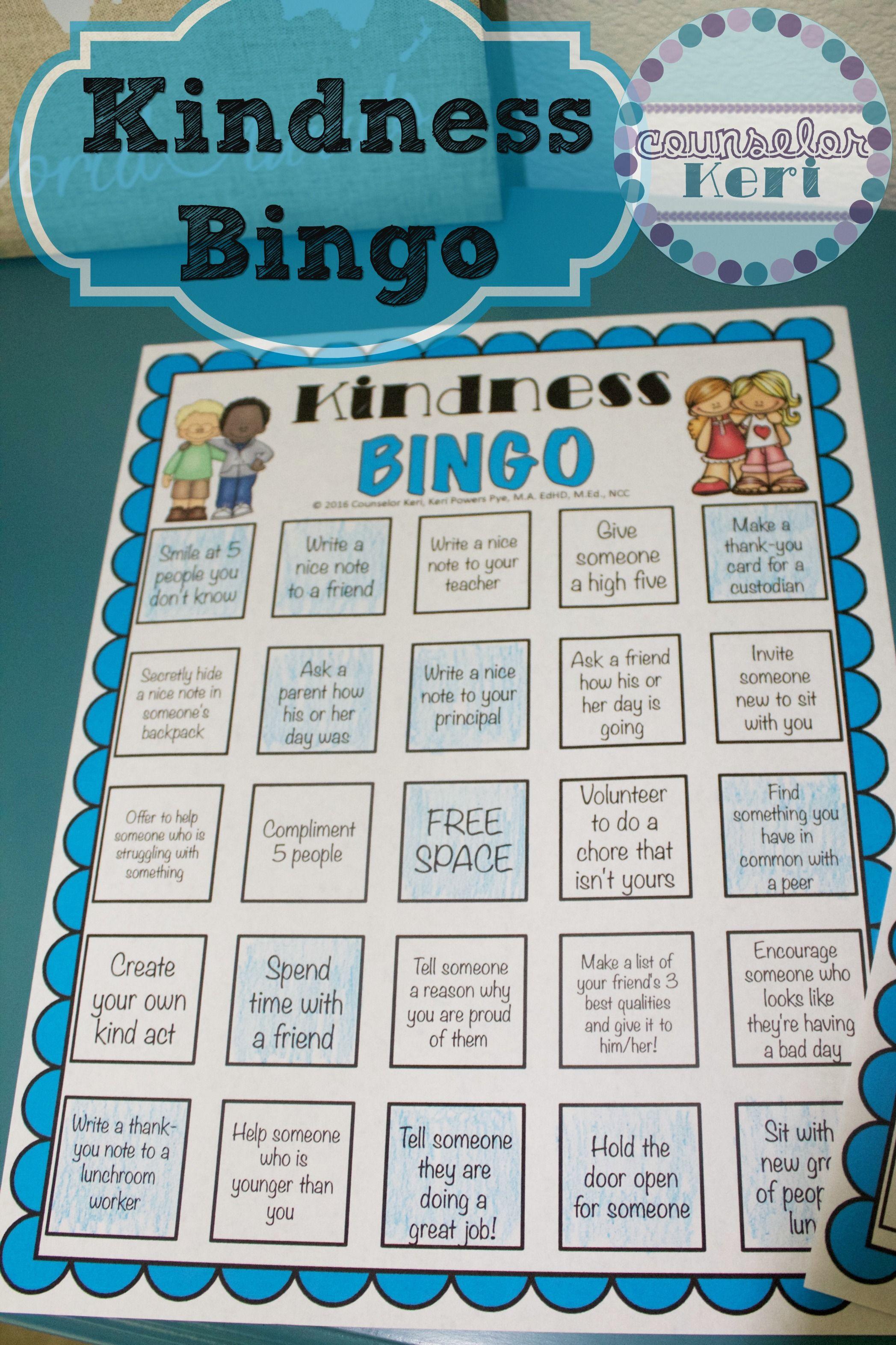 Free Kindness Bingo Printables From Counselor Keri