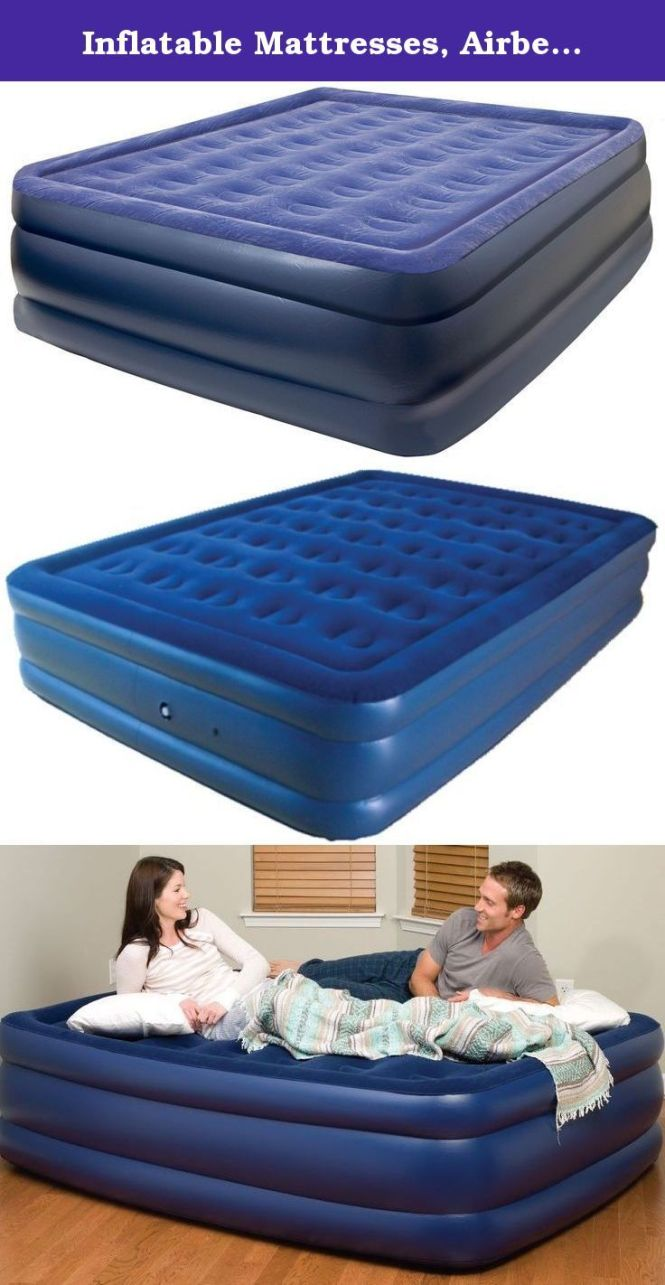 Inflatable Mattresses Airbeds Pure Comfort Flock Topped Raised Queen Extra Long Air Bed W