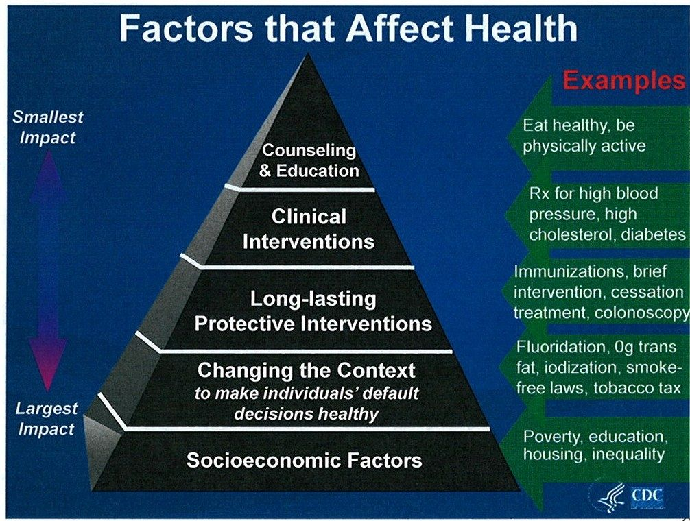 Pyramid of factors affecting health, the most influential