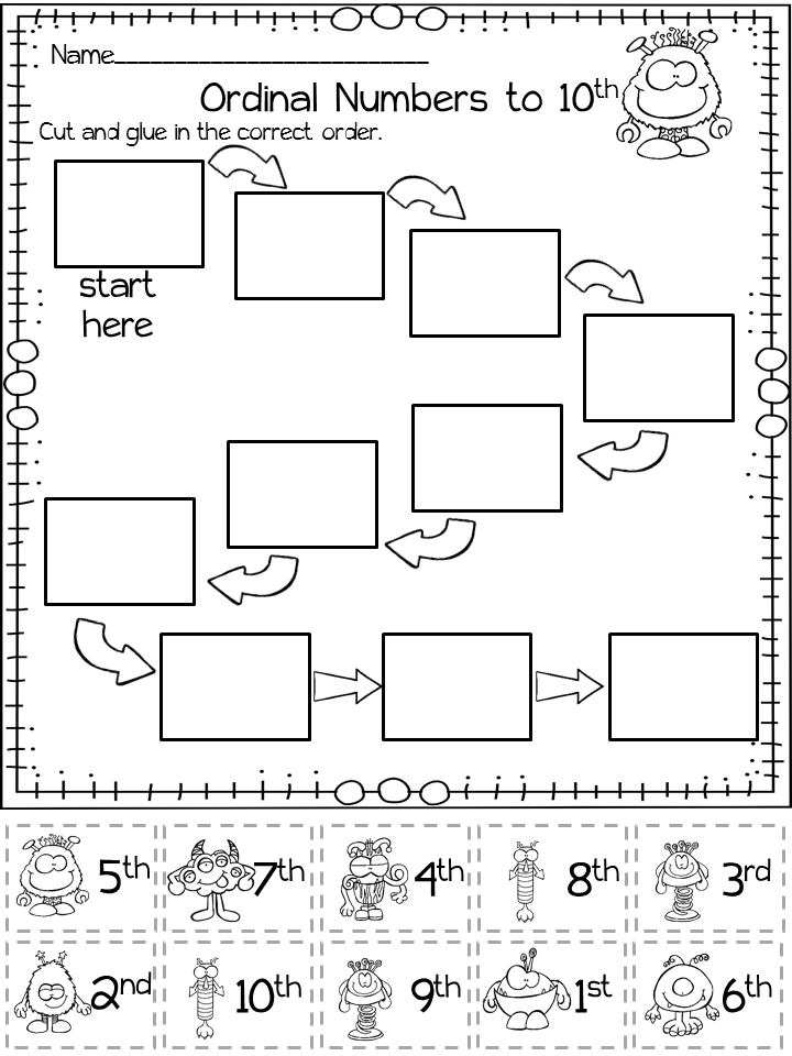 Halloween Math Ordinal Numbers Monster Themed Ordinal