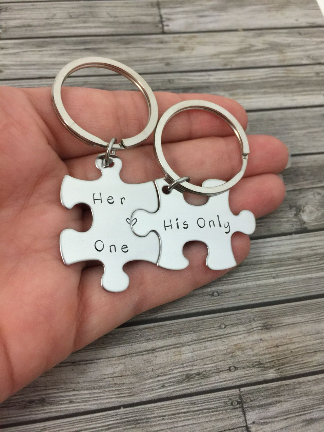 Boyfriend Gift, Couples Keychains, Her One His Only Puzzle