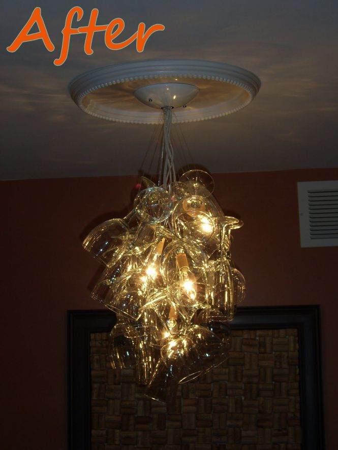 Diy Wine Glass Chandelier Still Trying To Figure Out If I Would Like This Or It Look A Jumbled Mess