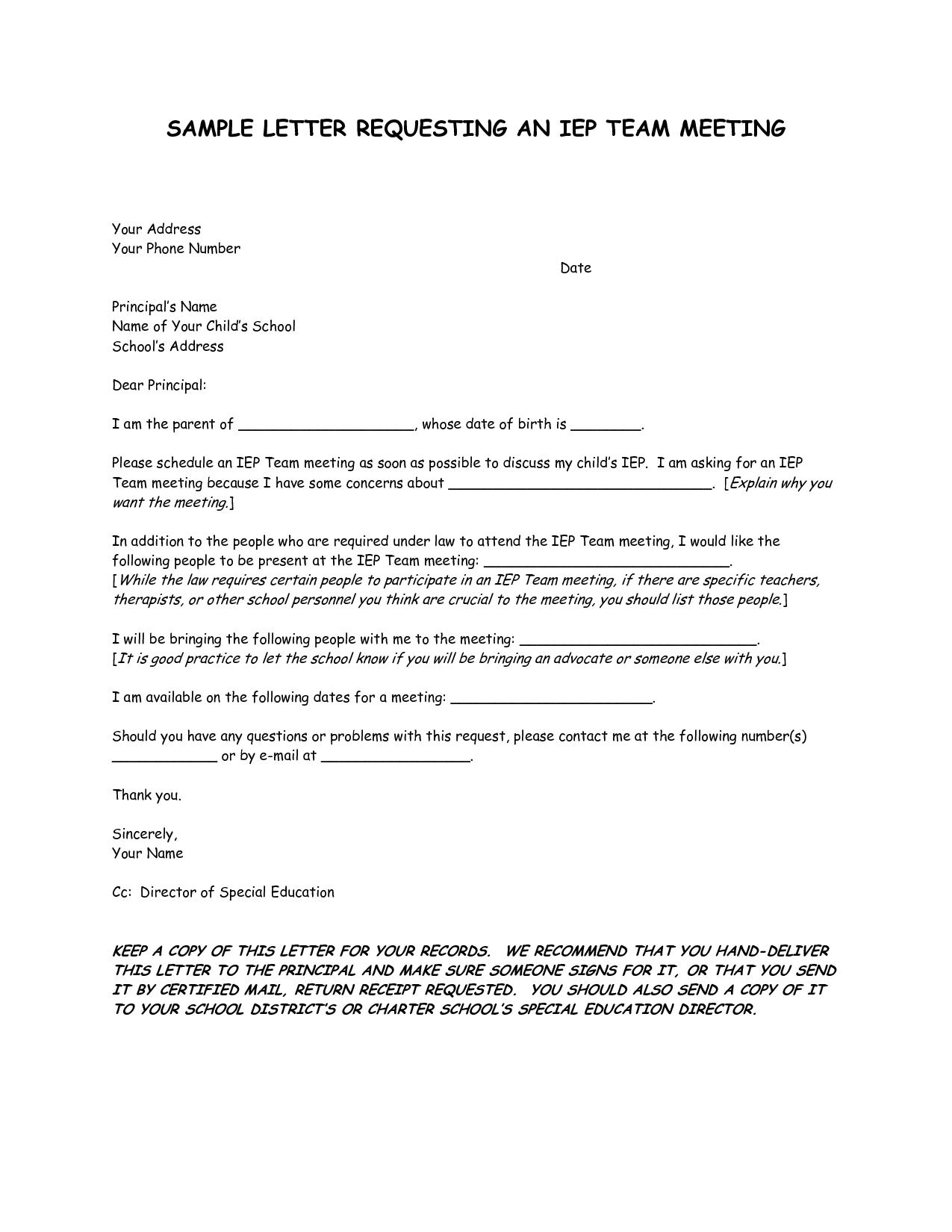 Parent Meeting Letters