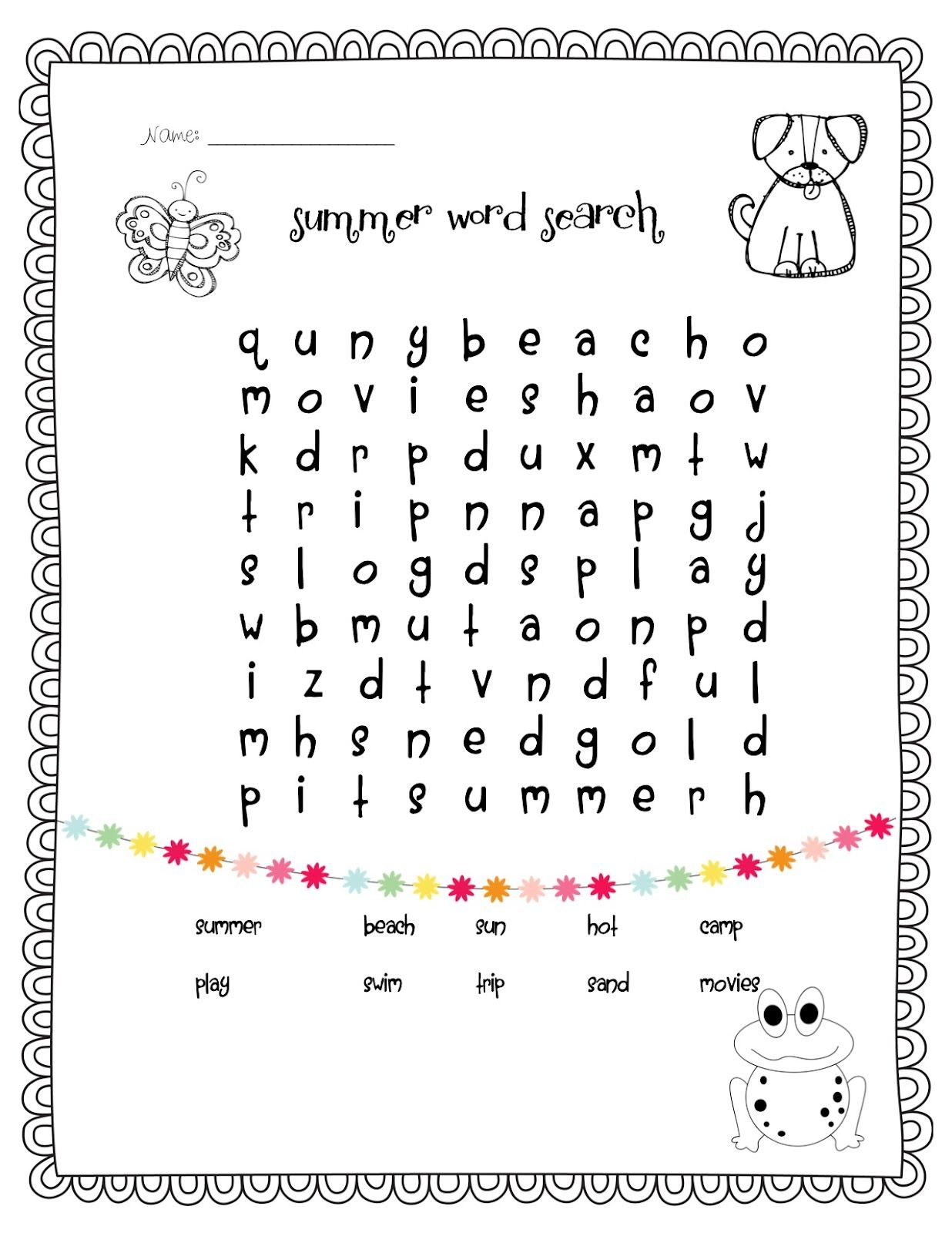 Summer Word Search Temple S Teaching Tales