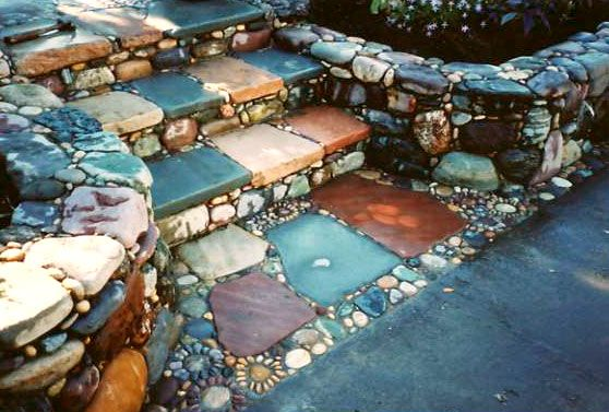 Stone Steps Mosaic Garden Design…Love these COLORS!